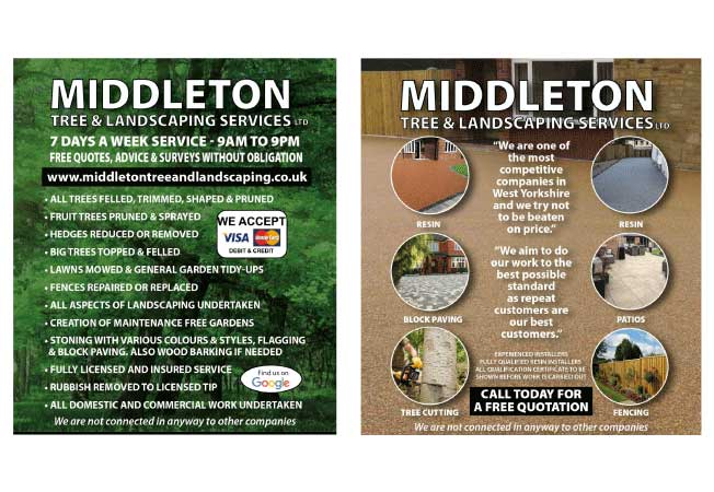Middleton Tree Services and Landscaping Leaflets